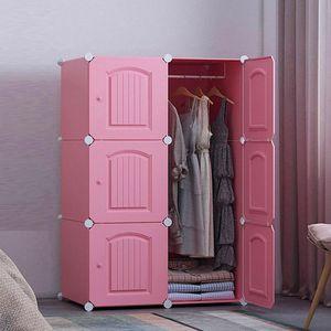NEW DIY 핑크 도어 선반 옷장 가벼운 의류수납함