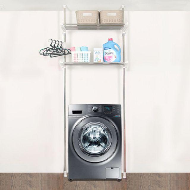 기둥접이식 세탁기/김치냉장고선반 2단 정리선반