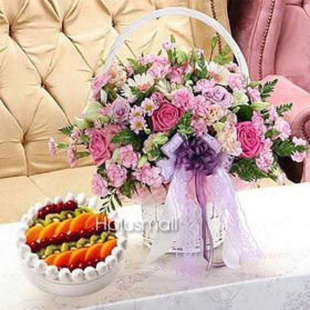 너를닮은 꽃바구니+케익-중급 케익꽃배달