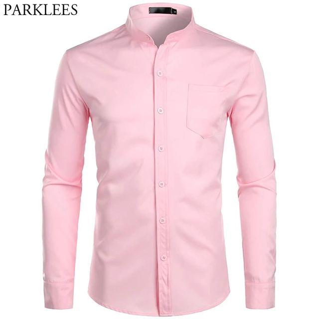 [해외] 남자의 줄무늬 칼라 핑크 드레스 셔츠 2019 브랜드의