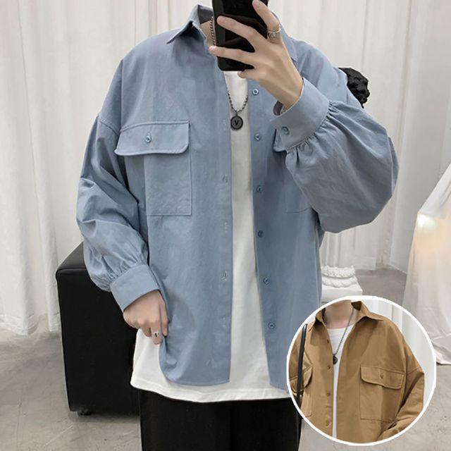W 남성 오버핏 댄디 스타일 데일리 패션 남방 셔츠