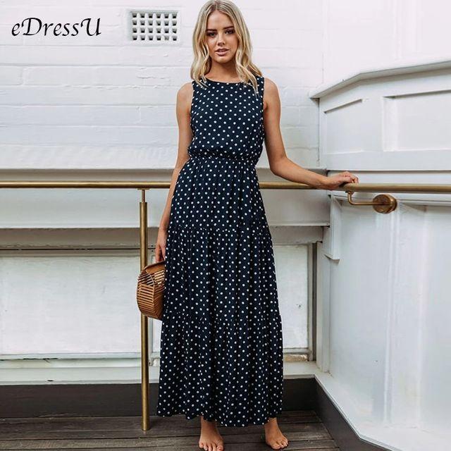 [해외] 빈티지 여성 드레스 긴 폴카 도트 맥시 드레스 플러스