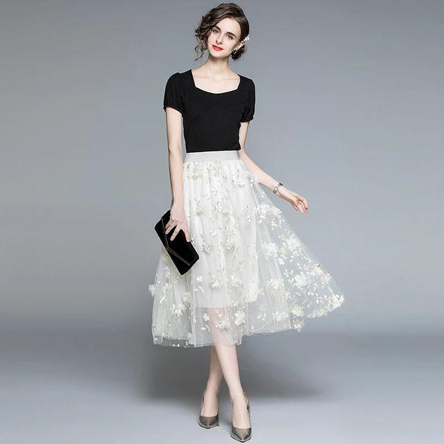 [해외] 2021 여름 패션 2 조각 스커트 세트 여성 스퀘어 칼라