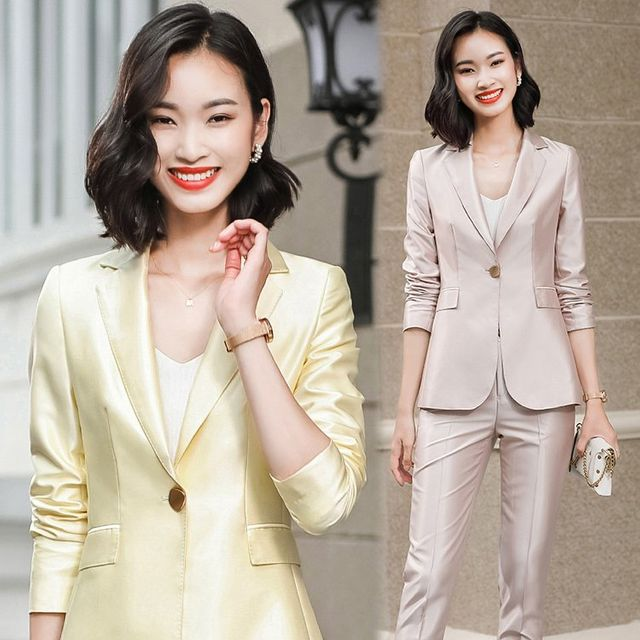 [해외] 여성 패션 재킷 자켓 정장세트 인터뷰 전문 착용