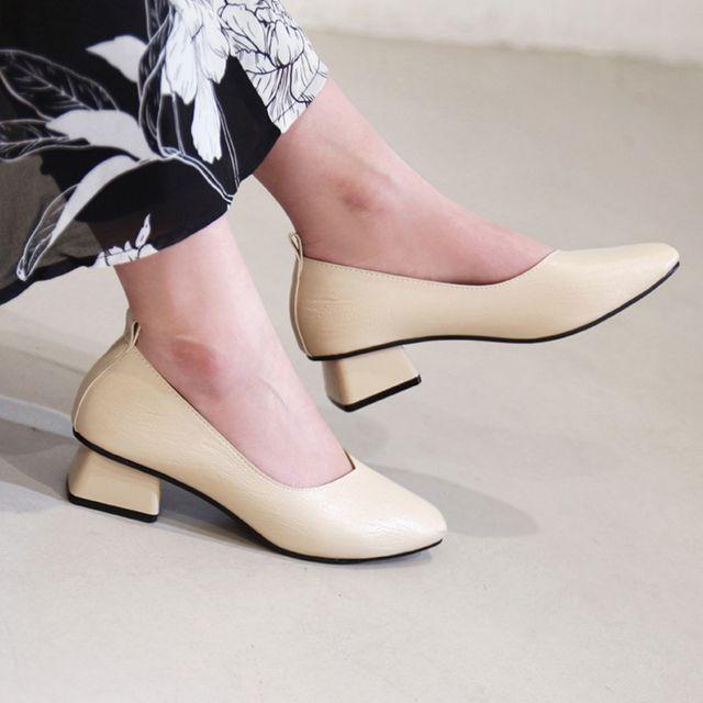 W 스퀘어 발이 편한 낮은 굽 데일리 슈즈 여성 구두