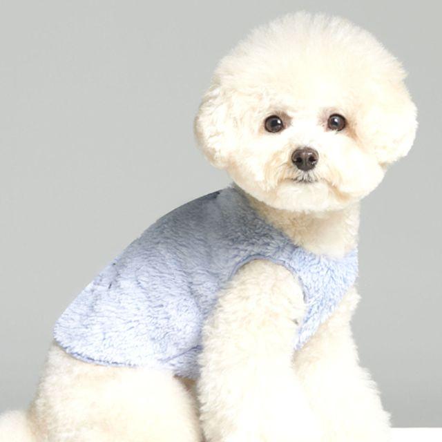 강아지 의상 외출 산책 잠옷 포근 후리스 조끼 블루