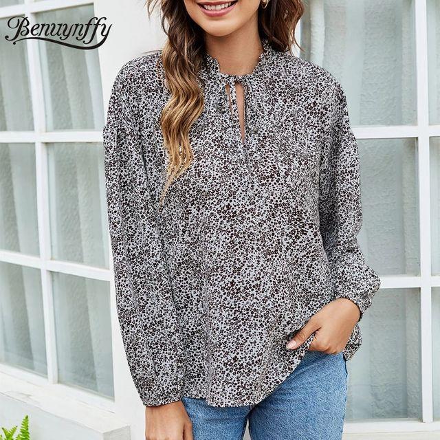 [해외] Benuynffy 넥타이 넥 프린트 탑 블라우스 여성 봄 여