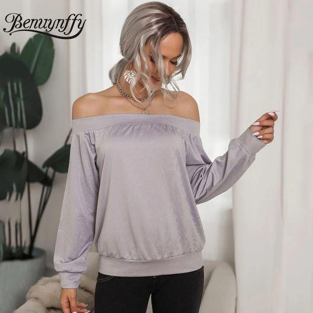 [해외] Benuynffy 슬래시 넥 오프 숄더 스웨터 여성 봄 가을