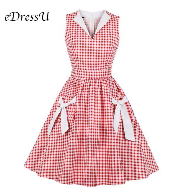[해외] Edressu 2019 빈티지 여성 드레스 격자 무늬 v 컷 bow