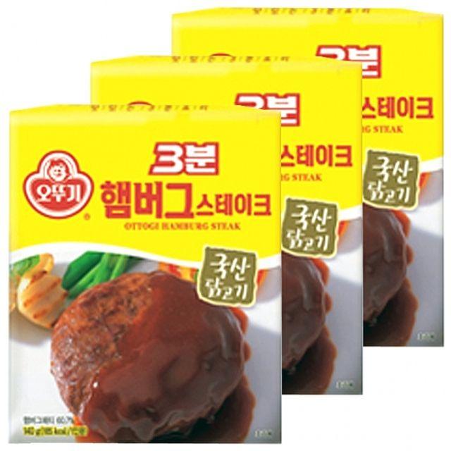 오뚜기)3분 햄버거스테이크 140g x 12개 햄버그 신선 진한 소스 국내산 닭고기 양파 쫄깃한 고기맛,안주,즉석,레토르트,간편,고기