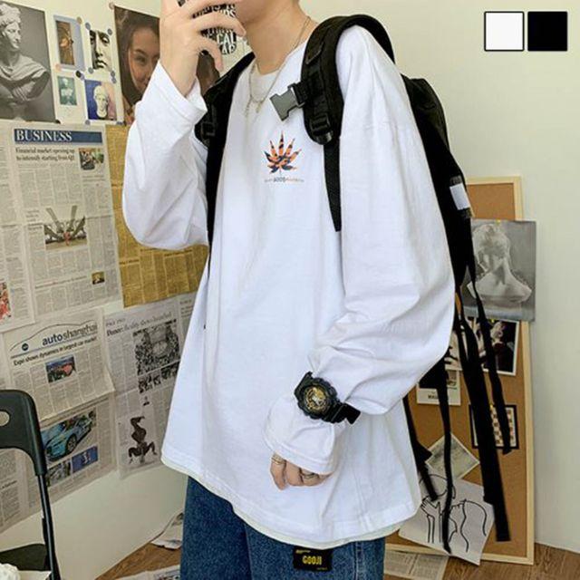 W 남자 외출 티셔츠 오버핏 박시 스타일 긴팔 티셔츠