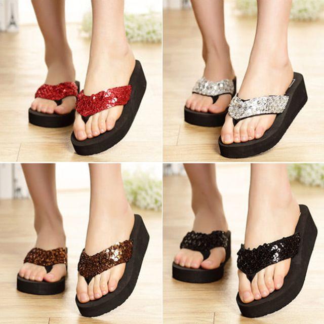 W 트윙클 통굽 샌들 여름 여성 쪼리 슬리퍼 키높이 신발