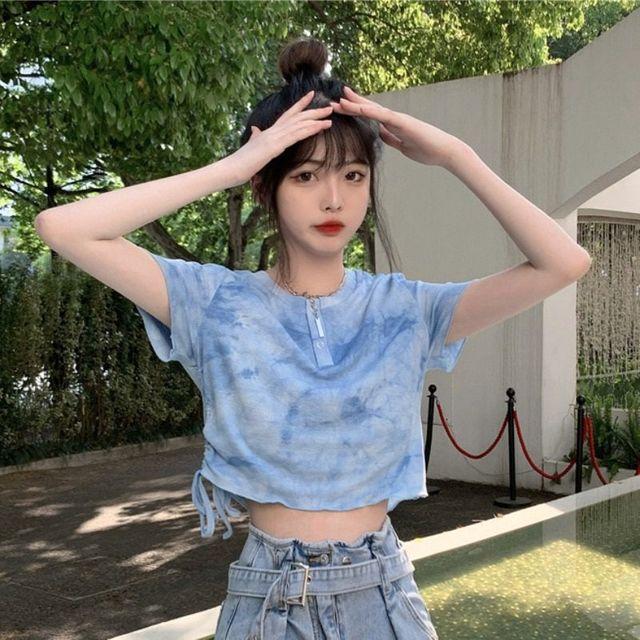 [해외] 여성 패션 티셔츠 넥타이 염색 탑 여
