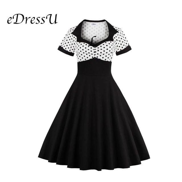 [해외] Edressu 빈티지 오드리 헵번 폴카 도트 여름 드레스