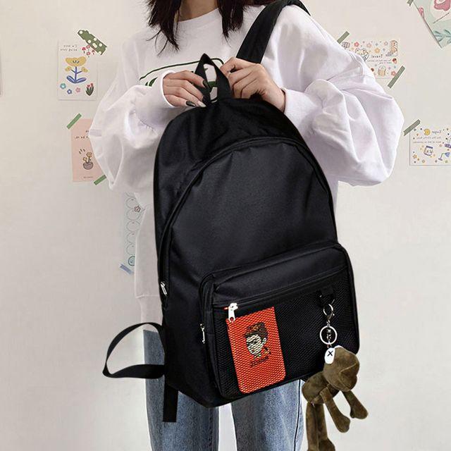 W 학생 대학생 메쉬포켓 가벼운 심플 패션 가방 백팩