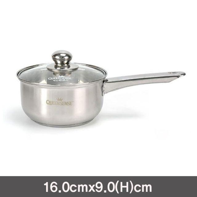 퀸센스 실버인덕션겸용 3중바닥스텐편수냄비-16cm