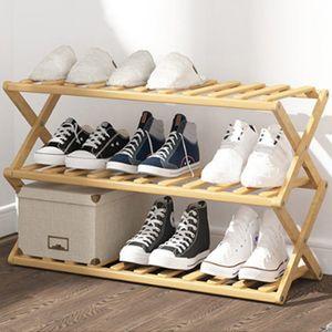 제이와이_접이식 원목 신발장(3단)
