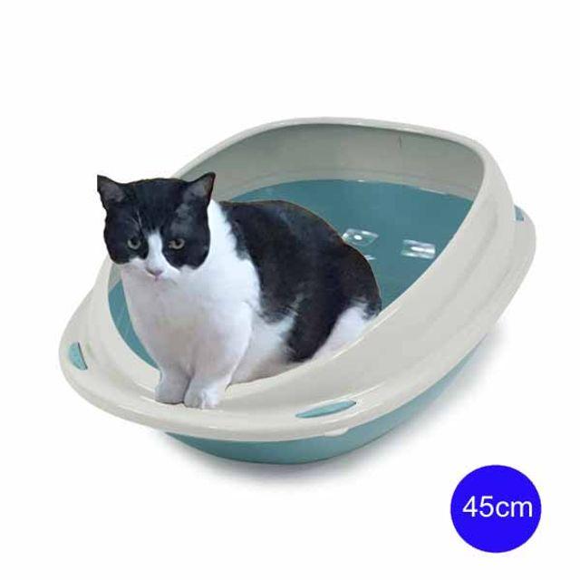 유선형 셔틀45 평판형 고양이 화장실 45cm(블루)