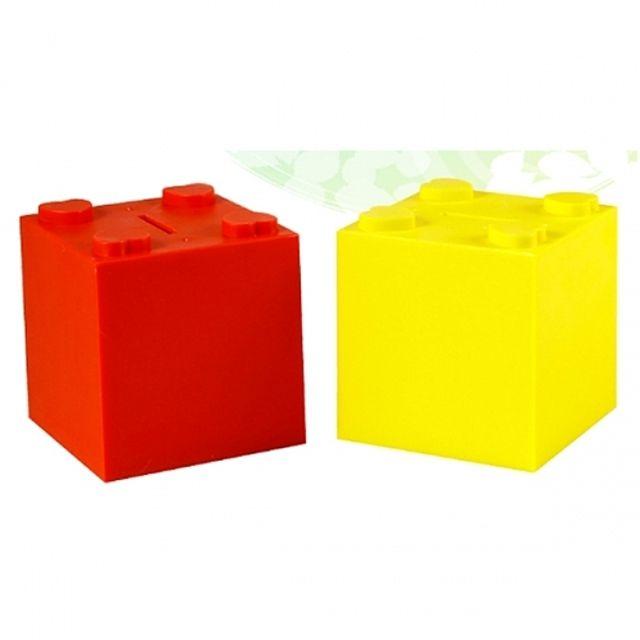 블록 저금통 노랑 빨강 [제작 대량 도매 로고 인쇄 레이저 마킹 각인 나염 실크 uv 포장 공장 문의는 네이뽕]