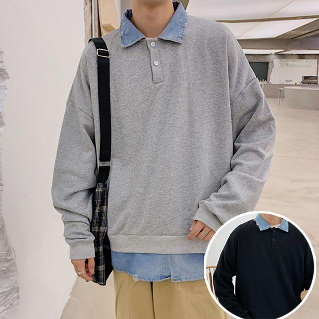 W 남성 깔끔한 기본 스타일 단추 맨투맨 티셔츠