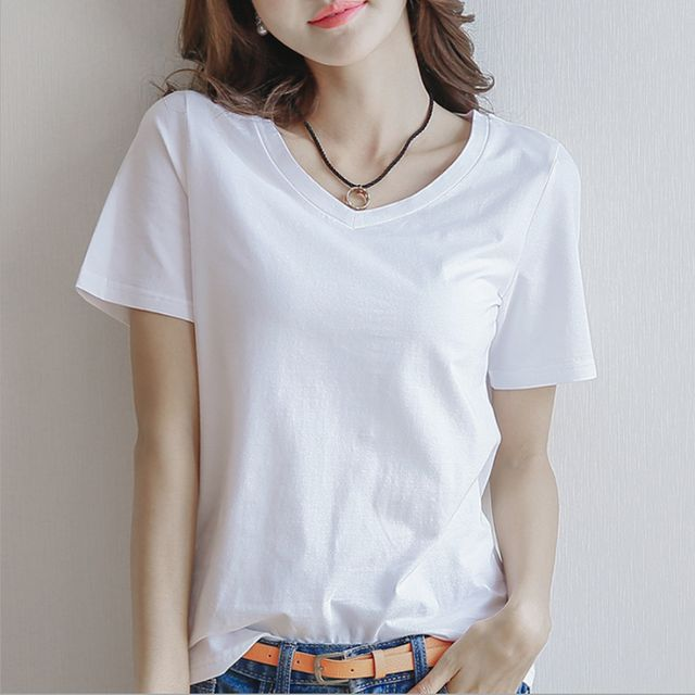 W 여자 단색 티셔츠 반팔셔츠 무지반팔티 반팔면티