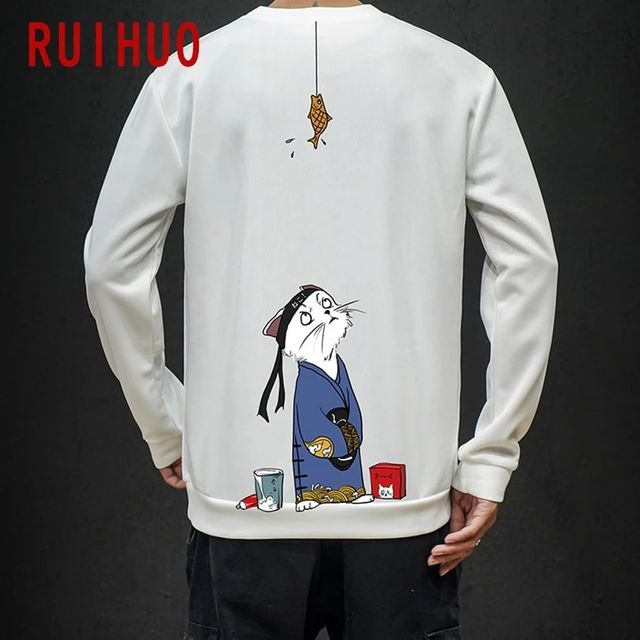 [해외] RUIHUO 2021 Cat Print 흰색 운동복 남성용 Streetwea