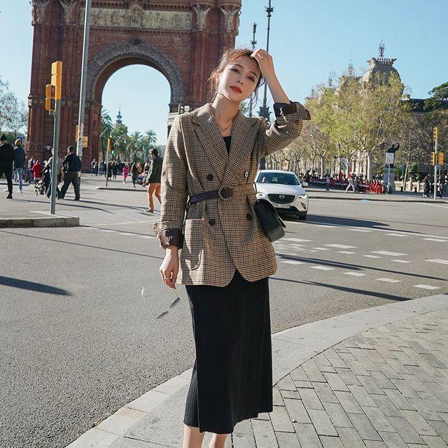 [해외] 여성 패션 정장 격자 무늬 블라우스