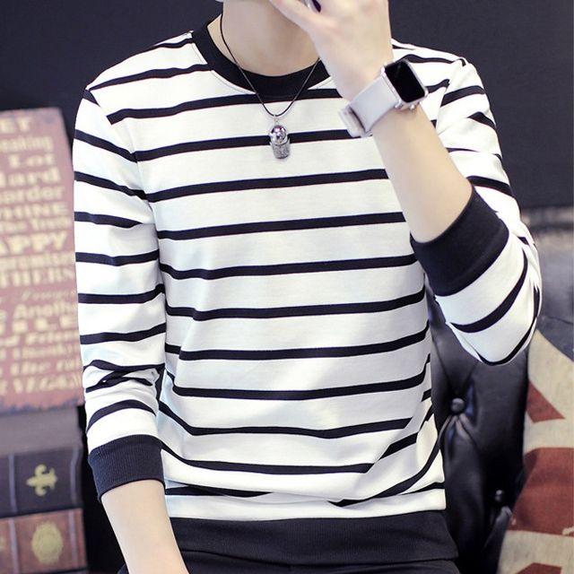 W 남성 줄무늬 티셔츠 트렌드 긴팔 화이트