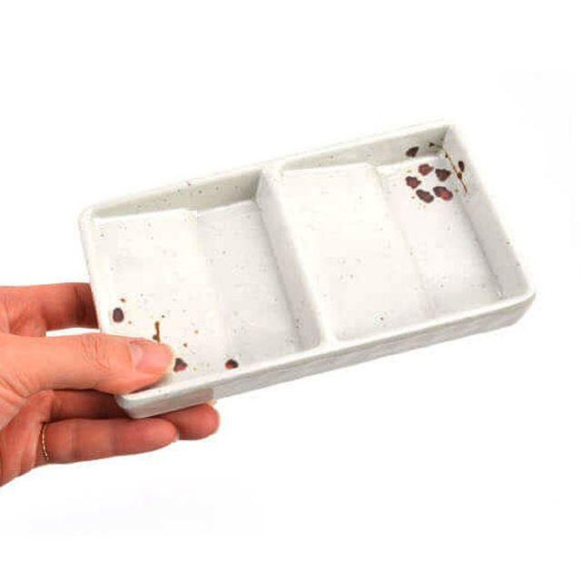 빗각 2칸 초장 양념 종지그릇 [제작 대량 도매 로고 인쇄 레이저 마킹 각인 나염 실크 uv 포장 공장 문의는 네이뽕]