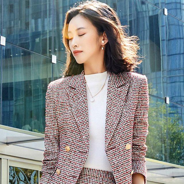 [해외] 여성 패션 재킷 자켓 정장세트 바지 한국어 버전