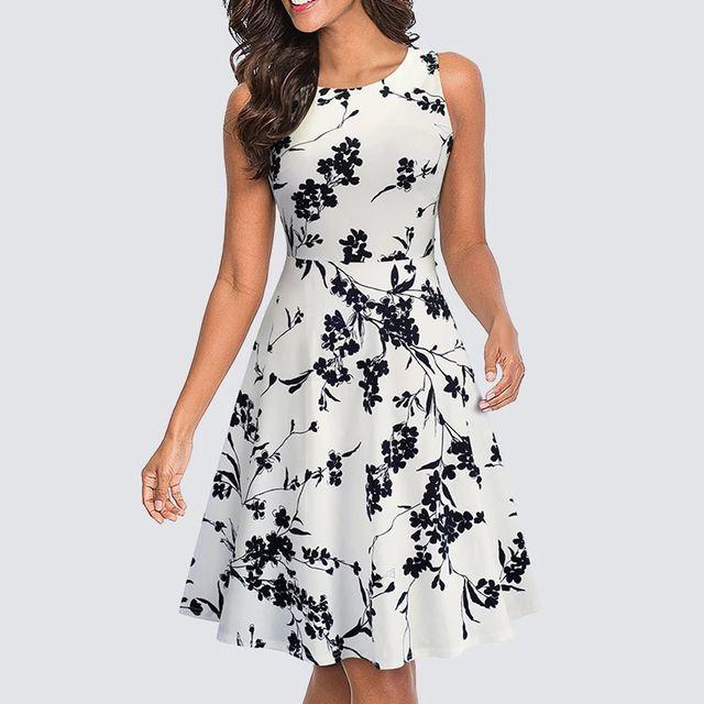 [해외] 여성 캐주얼 민소매 튜닉 스윙 파티 드레스 여름 빈티