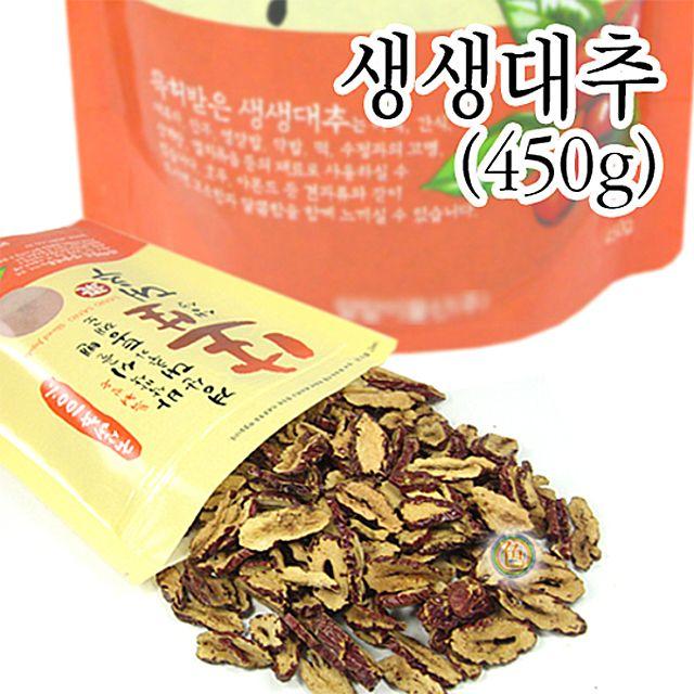 [더산쇼핑]생생대추과자 대용량 (국산 450g) 대추스낵 대추칩 경산대추간식 대추슬라이스 간식