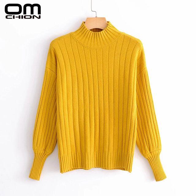 [해외] OMCHION 새로운 2021 가을 겨울 터틀넥 여성용 스웨터