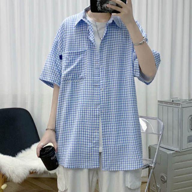 W 체크 패턴 나들이 외출 패션 오버핏 편한 예쁜 셔츠