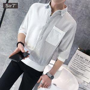 a1b98a90ae2 스트라이프 슬리브 남성 여름 얇은 슬리브 반팔 셔츠