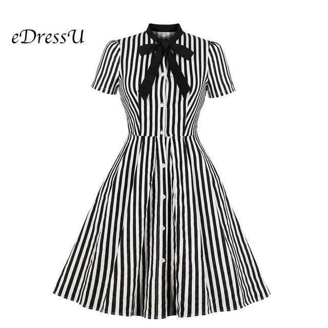 [해외] Edressu 스트라이프 셔츠 드레스 bowknot 블랙 우아한