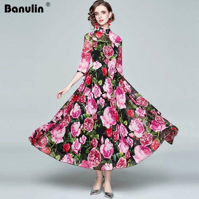 [해외] Banulin 2021 봄 활주로 플로랄 비치 드레스 여성용 3