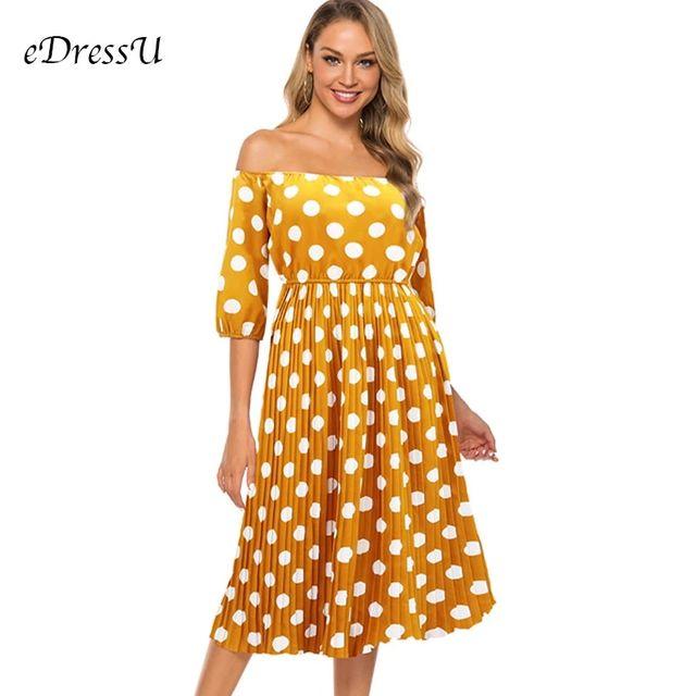 [해외] 빈티지 폴카 도트 드레스 어깨 pleated 여름 드레스