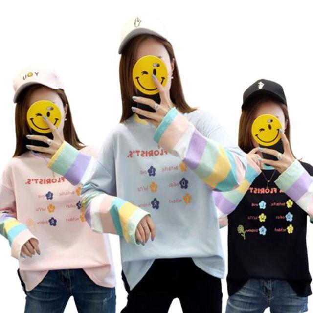 W 여자 파스텔 톤 예쁜 캐주얼 맨투맨 라운트 티셔츠