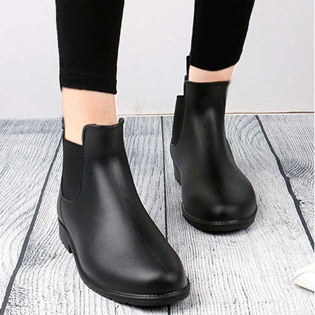 비올때 신는 신발 패션 여자 발목 장화 고무신 부츠