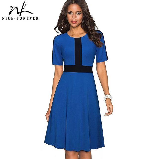 [해외] 니스-영원히 여름 여성 패션 대비 색 패치 워크 드레