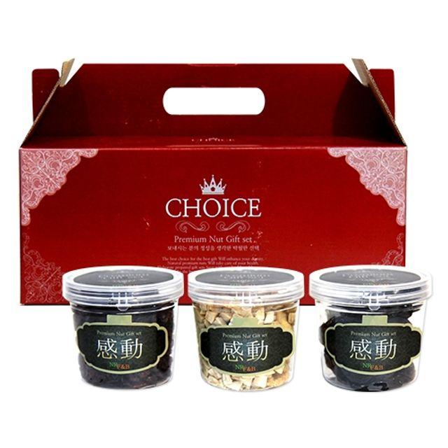 PREMIUM NUTS 초이스 건 과일 3종 선물세트,견과류,견과선물,호두,땅콩,견과