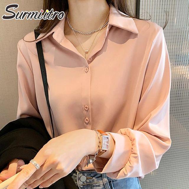 [해외] SURMIITRO 플러스 크기 4XL 셔츠 여성 2021 패션 봄