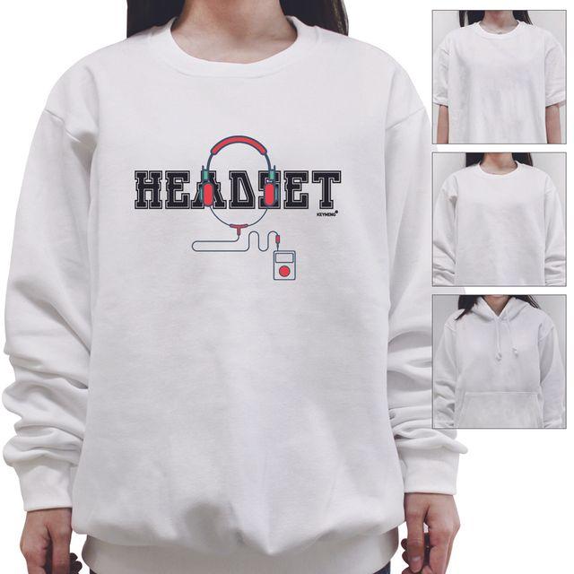 W 키밍 Headset 여성 남성 티셔츠 후드 맨투맨 반팔티