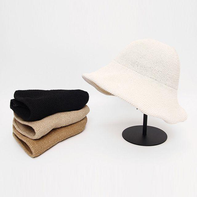 여자 포니테일 버킷햇 여름 빈티지 밀짚 벙거지 모자
