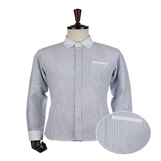 W 카라배색 스트라이프 셔츠 남성셔츠 체크셔츠