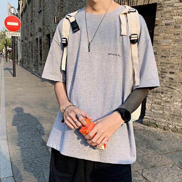 W 무지 디자인 남자 외출 캐주얼 패션 반팔 티셔츠