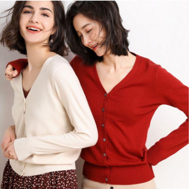 W 키밍 여성 봄 가을 니트 브이넥 기본 가디건 여 패션