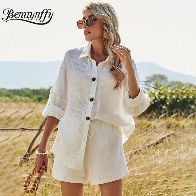 [해외] Benuynffy 2021 봄 여름 캐주얼 여성 정장 긴 소매 흰