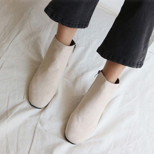 여성 스웨이드 앵글 미들부츠 겨울 패션 코디 신발